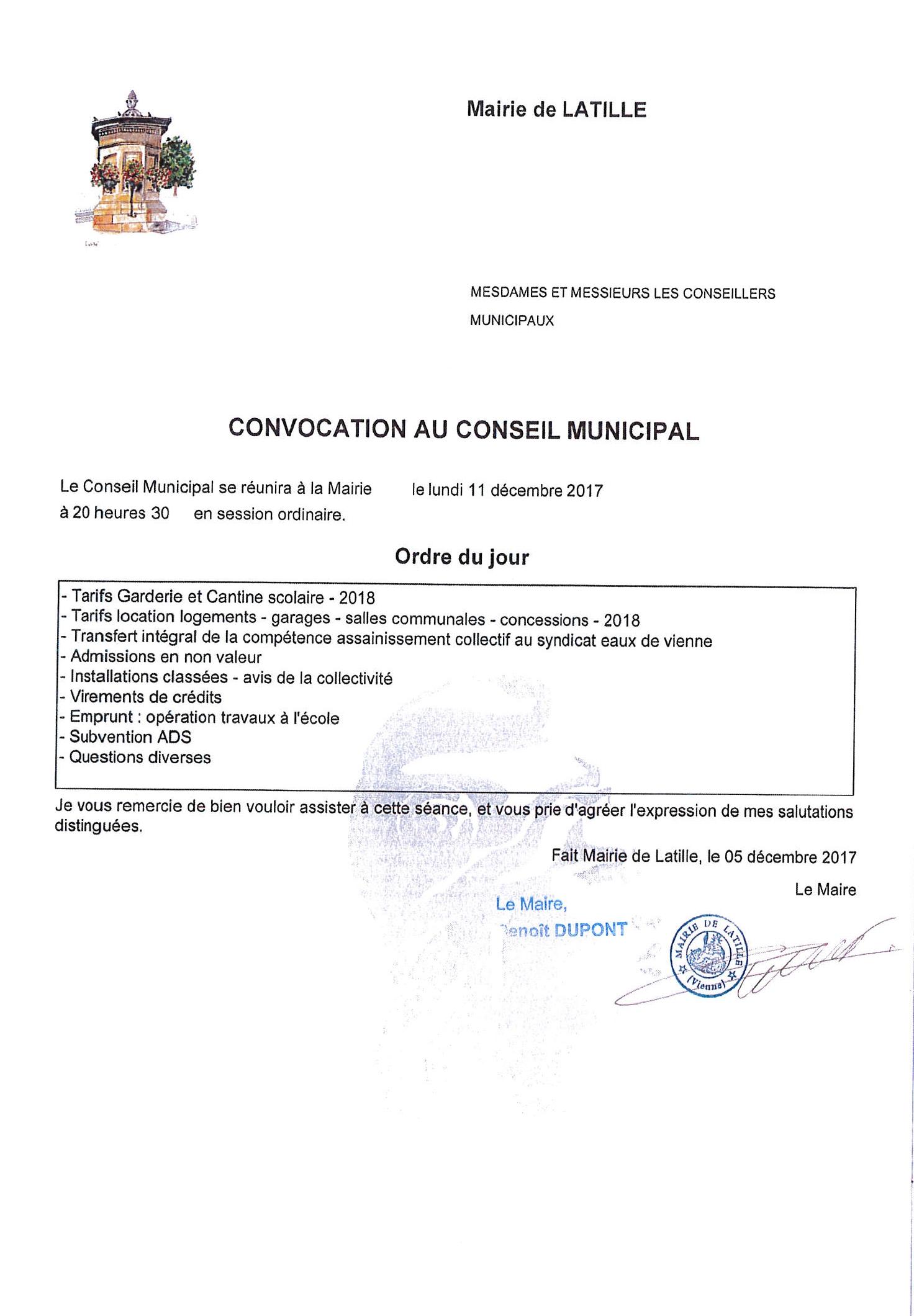 Convocation Conseil Municipal Lundi 11 Décembre 2017