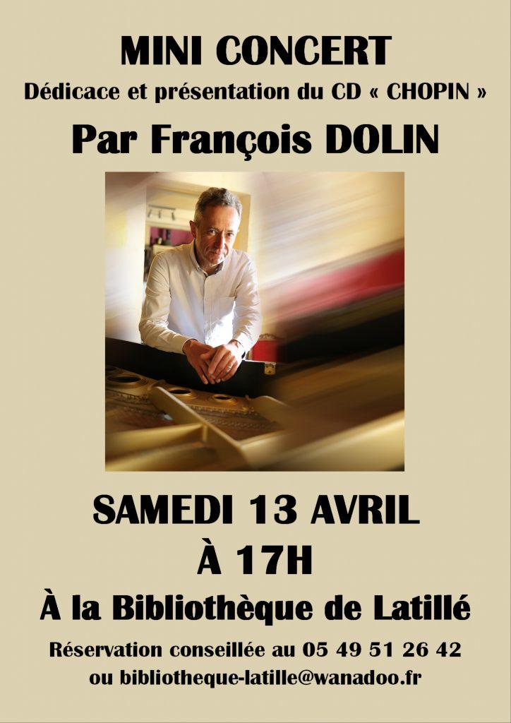 Mini Concert à la Bibliothèque le 13 avril 2019 par François Dolin